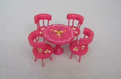 VTG Fomerz Dollhouse Table Chairs Pink Painted Wood Miniature Japan