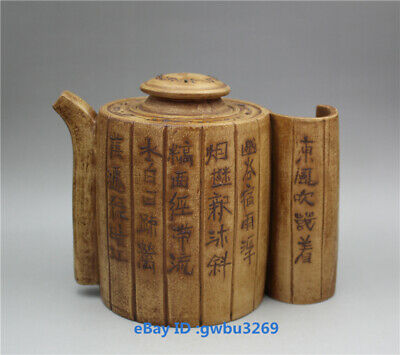 Collection old Chinese Yixing Zisha Handmade Character Purple sand Teapot Marks