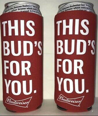 2 Budweiser This Bud's For You Beer Can Koozie Coozie Coolie Michelob Ultra