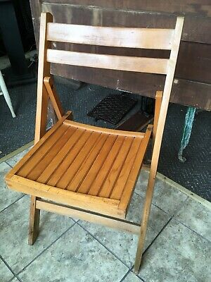 Vintage Wood Slat Folding Chair