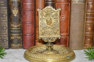 Antique French Gilt Brass Match Box Holder Tray Stand Figural Gothic Grotesque