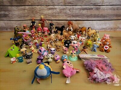 Girls Mixed Toy Lot Junk Drawer Figures Figurines Disney Care Bears Lps Horses