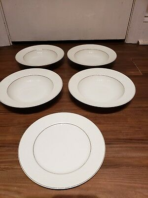 Rosenthal Continental 7PC Soup Bowls Salad Plate White Velvet Platinum Germany