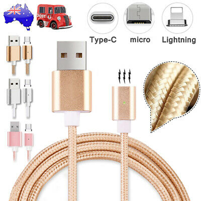 3A Fast Charging Braided Magnetic 3.1Data Sync Charger Cable Micro/Type C/iPhone