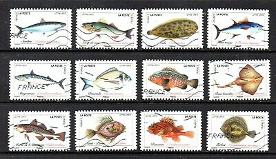 *New*  France - French - 2019 -  Marine Life - Fish - Full Set Of 12 Stamps
