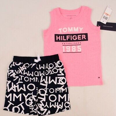 TOMMY HILFIGER Boys' Kids' 2pc Summer Outfit Set, Top&Shorts, sizes 2 3 4 years