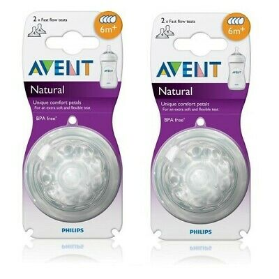 2 x AVENT Natural Teats 6M+ 2 Pack BPA Free Fast Flow Teat 6 Months +