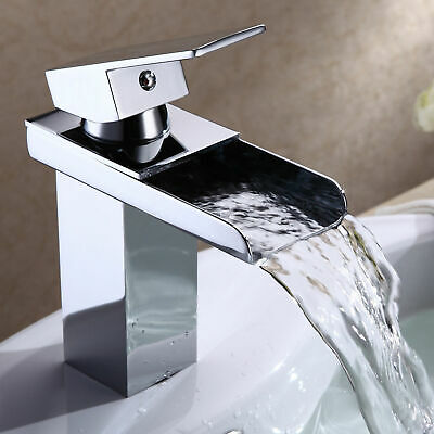 Waterfall Bathroom Faucet Single Hole Hot and Cold Water Mixer Tap Chrome
