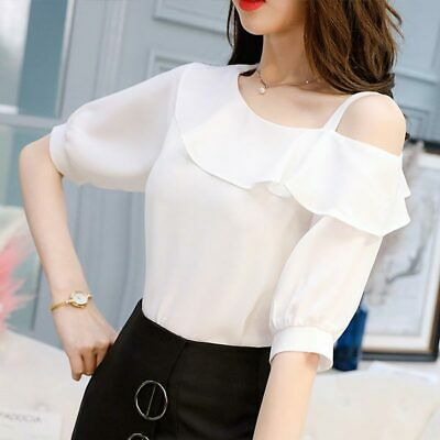Ladies Chiffon Top Shirt Short Sleeve Loose Women Summer Fashion T-Shirt Blouse