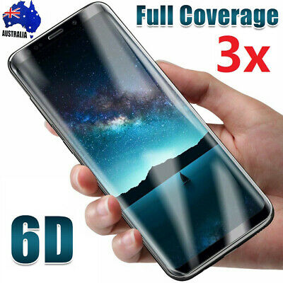 3x Samsung Galaxy S10 S9 S8 6D Full Coverage Tempered Glass Screen Protector 9H