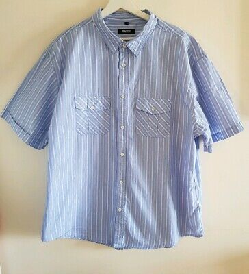 Men's peacocks Blue Short Sleeved Shirt XXXL <EE745