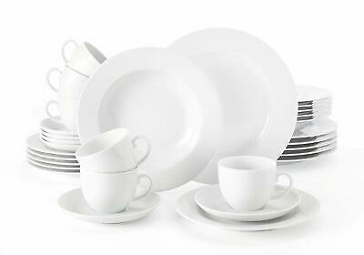 Seltmann Weiden Rondo Liane 30 Piece Dinnerware Set, Service for 6, White
