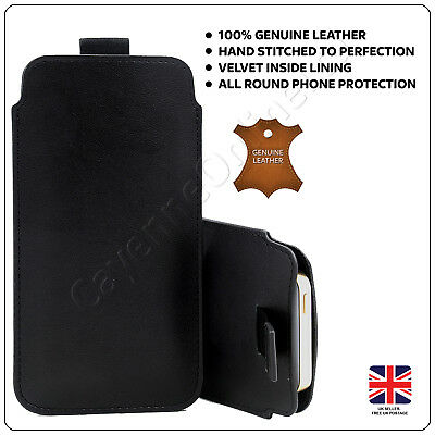 DOT Black For Alba Big Button Slim Real Genuine Soft Leather Pull Tab Slide In Pouch Sleeve Case Cover