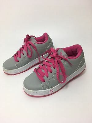 Girls Sidewalk Sports Heelys Pink Grey Lace Up Skate Shoes Trainers Uk 12 C Eu31