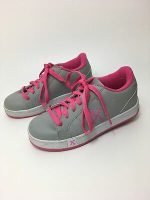 Girls Sidewalk Sports Heelys Pink Grey Lace Up Skate Shoes Trainers Uk 2 Eu 34