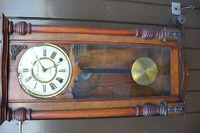 Late Victorian 8 Day Walnut Vienna Wall Clock. S&F Argyle For Repair.