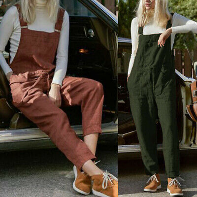 ZANZEA 8-24 Women Cotton Strappy Jumpsuit Suspenders Dungarees Long Bib Overalls
