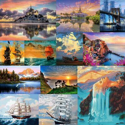 Sea Scenery DIY Paint By Number Kit Digital Oil Painting Artwork Home Wall Decor