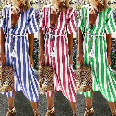 Women V-Neck Button Striped Short Sleeve Midi Dress Party Summer Beach Sundress