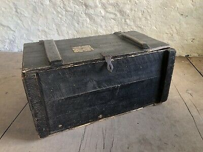 Antique French Ebonised Pine Travel Trunk With Railway Labels Napoleon III 19thC