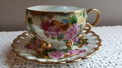 Royal Sealy Japan China Luster 3 Footed Reticulated Pink Roses Tea Cup & Saucer