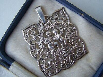 Amazing Vintage Ornate Openwork Solid Sterling Silver Cherub Pendant London 1902