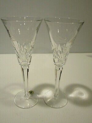 Waterford Wedding Heirloom Pair Tall Toasting Flutes, Swans Etch