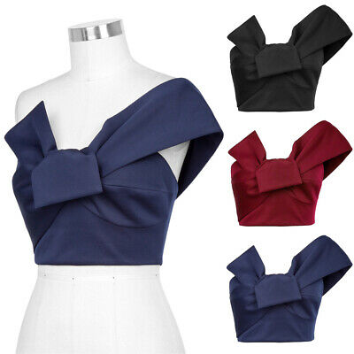 Women Big Bow-tie Cropped One Blouse S-xl Summer Retro Sexy Shoulder Tops Poque