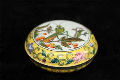 Collection Old Chinese Cloisonne painting Mantis pattern Powder box jewel box