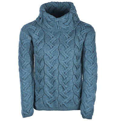 Ladies Chunky Cable Cowl Wool Sweater by Aran Mills - Marine Blue