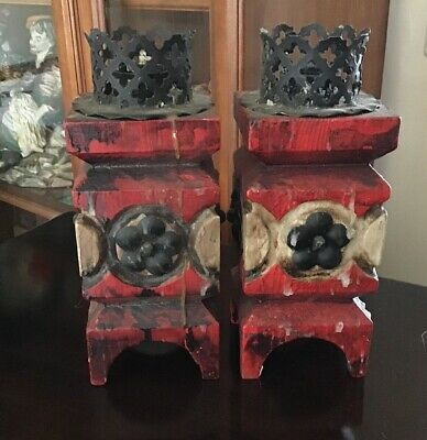 """A pair of vintage Japanese wooden candle stick holders 9.5"""" tall."""