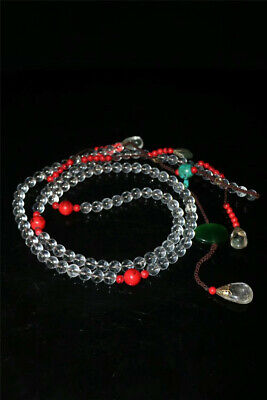 """Collect Old China crystal Red Coral beads Official clothing """"Chao-Zhu"""" necklace"""