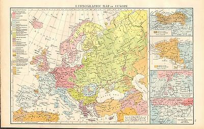 1895 Large Antique Map-Ethnographic Map Of Europe