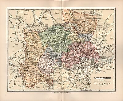 1895 Antique County Map- Middlesex Uxbridge Staines Enfield Stanmore London Ruis