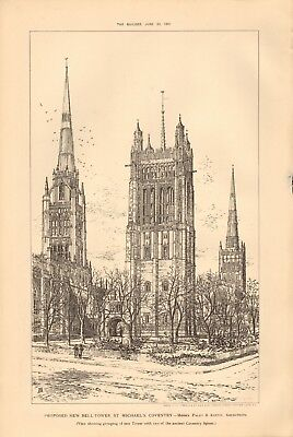 1891 Antique Print- Architecture - Coventry - Proposed Bell Tower, St Michael's