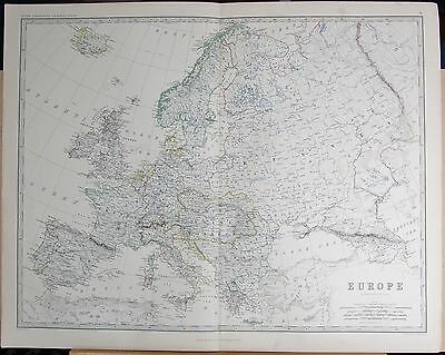 1875 Extra Large Antique Map - Europe