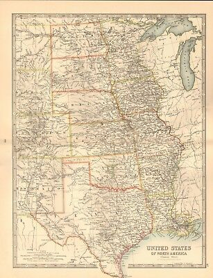 1891 Antique Map -  United States, Central Sheet, Texas, Nebraska, Colorado