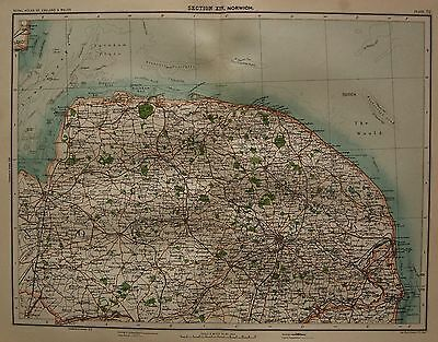 1898 Large Victorian Uk Map : Norwich Kings Lynn Cromer Great Yarmouth The Wash
