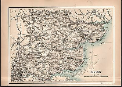 1889 Antique Map Johnston England - Essex, Maldon, Harlow, Linton, Sudbury, Naze