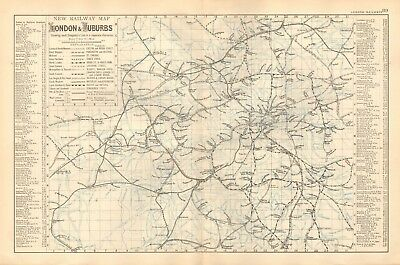 1895 Antique Map - New Railway Map Of London & Suburbs