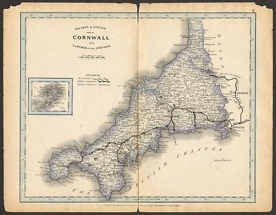 1864 Antique Map- Railway And Stations, Cornwall, Liskeard, Falmouth, Penzance