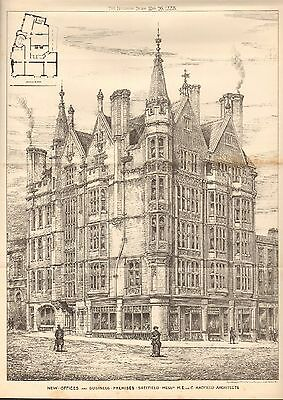 1884 Antique Architectural Print- New Commercial Premises, Sheffield, Yorks