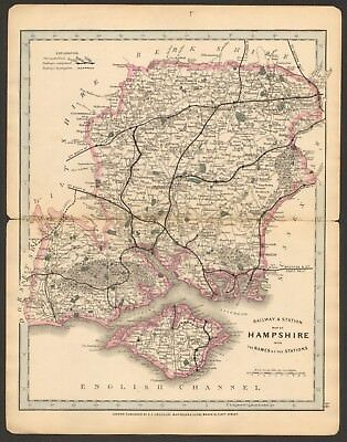 1864 Antique Map- Railway And Stations, Hampshire, Isle Of Wight, Southampton