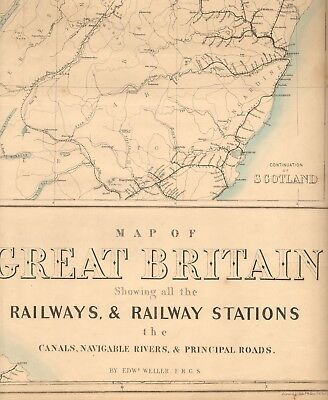 1863  Large Antique Map - Dispatch Atlas- Map Of Great Britain, Railways, Canals