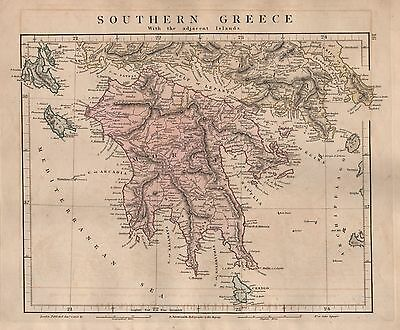 1828 Antique Arrowsmith Hand Coloured Map Southern Greece With Adjacent Islands