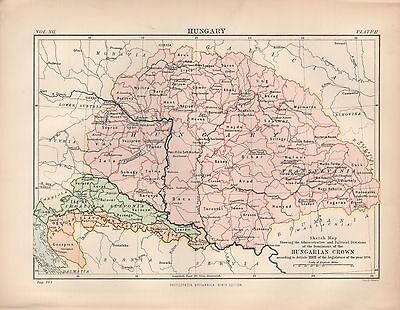 1880 ca ANTIQUE MAP- HUNGARY 1876