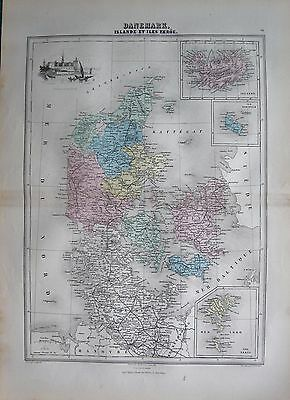 1883 Antique Map- Denmark, Iceland And Faroe Islands