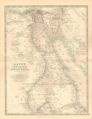 1891 Antique Map - Egypt, Arabia, Petraea & Lower Nubia