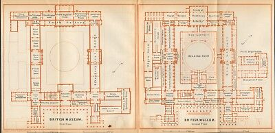 1911 - Antique Map - London - Plan, British Museum Ground, First Floor