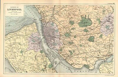 1895 Antique Map - Environs Of Liverpool